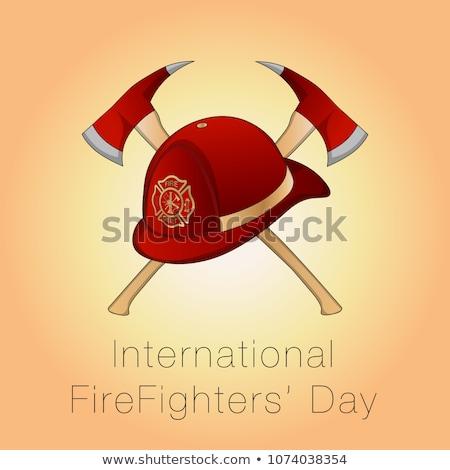 Szczęśliwy strażak topór ilustracja tle sztuki Zdjęcia stock © colematt