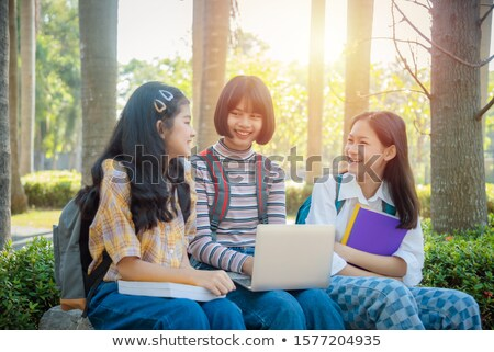 笑みを浮かべて 小さな 友達 女の子 屋外 公園 ストックフォト © deandrobot