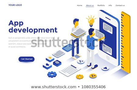 Flat isometric vector concept of mobile app development, programming. Stock photo © TarikVision