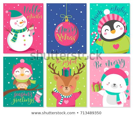 Feliz férias alegria cartão pinguim vetor Foto stock © robuart