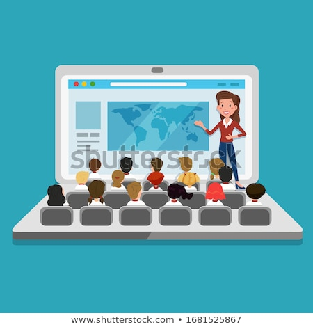 Distant learning and online tutorials concept. Flat vector illustration Stock photo © makyzz