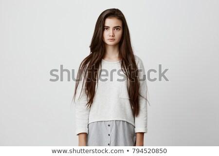 Poziomy obraz dość brunetka kobieta długo Zdjęcia stock © deandrobot