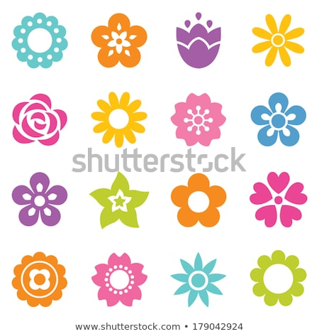 Vektor gyűjtemény tavaszi virág ikonok sziluett izolált Stock fotó © brahmapootra