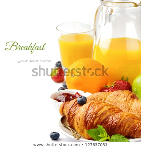 Close up fresh healthy nutritious breakfast jug glass with orang Stock photo © amok