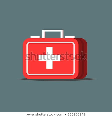 Red First aid kit icon. Medical box with cross. Medical equipment for emergency. Healthcare concept. Stock photo © kyryloff