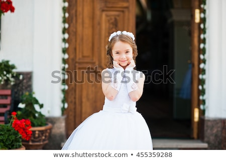 Kid Girl First Communion Pray Stock photo © lenm
