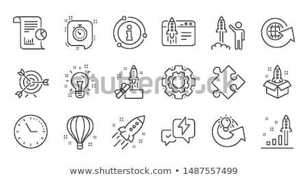 zestaw · rakietowe · ikona · odizolowany · biały · line - zdjęcia stock © netkov1