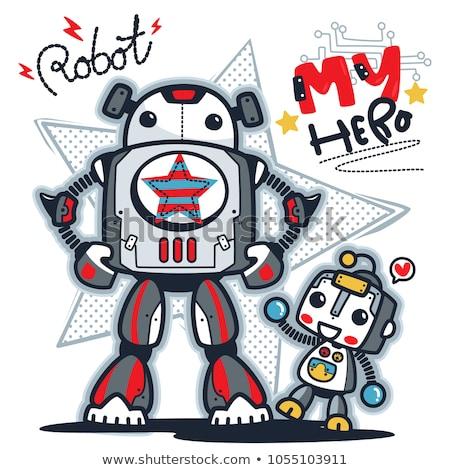 robots · cartoon · ingesteld · kleurboek · pagina · illustratie - stockfoto © krisdog