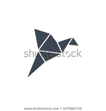 origami · uccello · vettore · icona · isolato · bianco - foto d'archivio © smoki