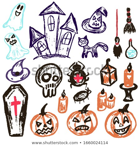 colorful set of halloween cartoon doodle objects stock photo © balabolka
