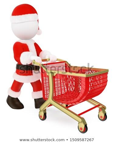 mikulás · bevásárlókocsi · fehér · férfi · vásárlás · jókedv - stock fotó © texelart