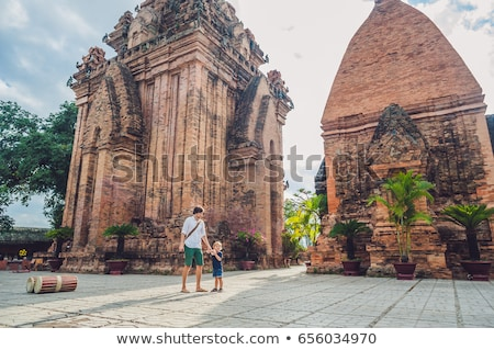 Father and Toddler Son tourists in Vietnam. Po Nagar Cham Tovers. Asia Travel concept. Stock photo © galitskaya