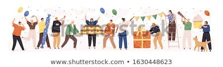 Famille heureuse gâteau fête d'anniversaire célébration personnes maison Photo stock © dolgachov
