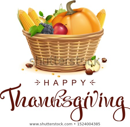 full basket of fruits and vegetables thanksgiving symbol happy thanksgiving text template lettering stock photo © orensila