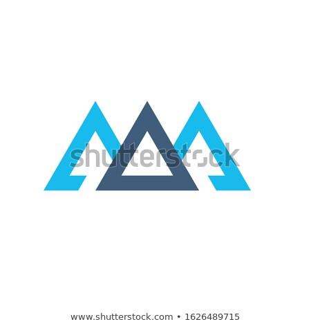 Creative blue trinity futuristic triangle symbol design for company logo. Triple Mountain Corporate  Stock photo © kyryloff