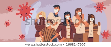 Virus Epidemic Attacking People Wearing Masks Vector Illustratio Stock photo © artisticco