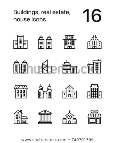 épületek ingatlan ház ikonok háló mobil Stock fotó © karetniy