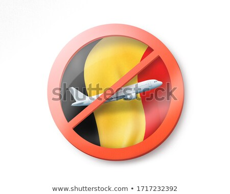 Forbbiden sign with crossed out plane on the background of Belgian flag. Stock photo © artjazz