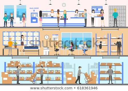 Woman and Man Work in Warehouse or Post Office Stock photo © robuart
