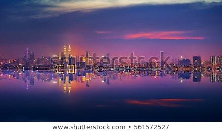 Kuala Lumpur linha do horizonte cor edifícios blue sky reflexões Foto stock © ShustrikS
