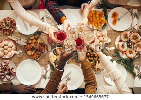 Ludzi jeść pić wraz domu recepcji Zdjęcia stock © robuart