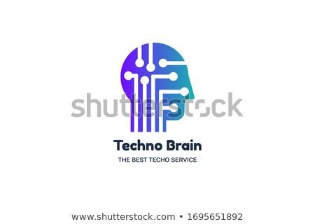 Homem cabeça lasca techno cérebro multimídia Foto stock © barsrsind
