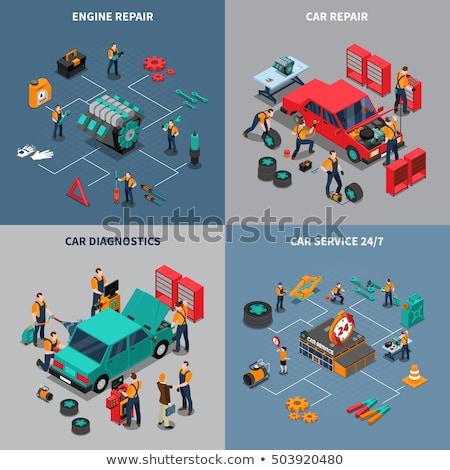 Carro motor reparar serviço anunciar cartaz Foto stock © pikepicture