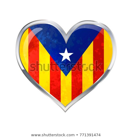 Heart shaped glossy icon with metallic border of Catalonia flag isolated on white Stock photo © evgeny89