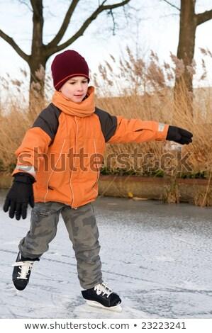 Fiú korcsolyázás első idő sport gyermek Stock fotó © galitskaya