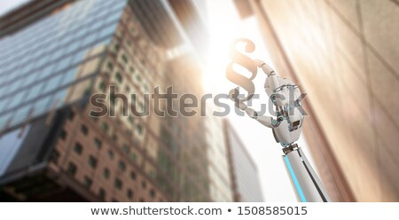 Humanoide robot mano párrafo estatua ciudad Foto stock © limbi007