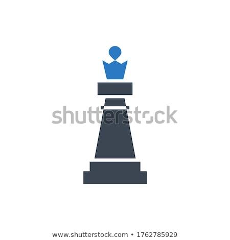 Pezzo degli scacchi regina vettore icona isolato bianco Foto d'archivio © smoki