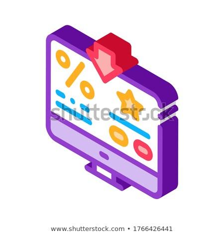 Bonus cento computer informazioni isometrica icona Foto d'archivio © pikepicture