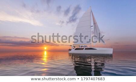 セーリング 日没 小 ボート 太陽 光 ストックフォト © lithian
