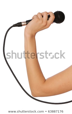 Big microphone in woman's hand stock photo © imarin