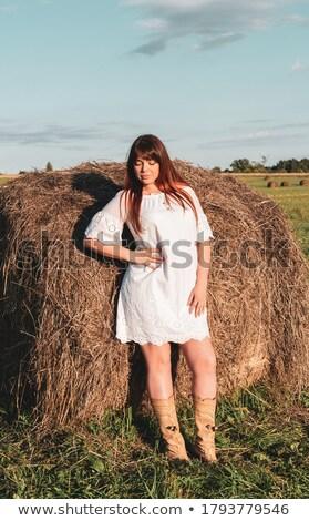 Vrouw witte jurk hooiberg jonge brunette schoonheid Stockfoto © imarin
