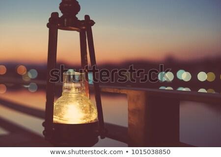 Magányos gyertya sötét fa asztal tűz fekete Stock fotó © Alvinge
