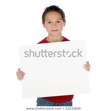 Jonge kind schild witte Stockfoto © gewoldi