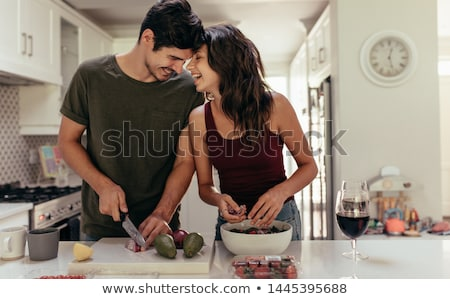 Pareja · cocina · mujer · feliz · retrato · casado - foto stock © photography33