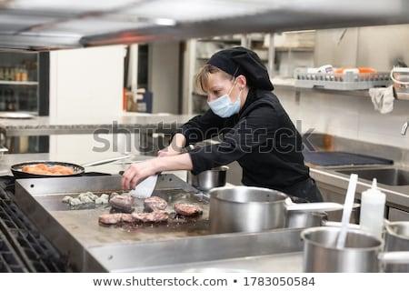 genç · garson · önlük · hazır · restoran - stok fotoğraf © photography33