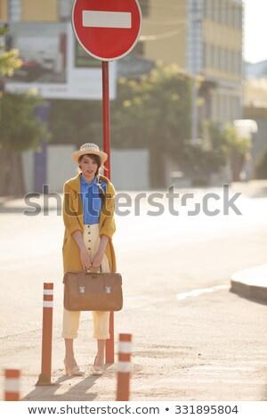 женщину · дороги · дорожный · знак · фон · движения - Сток-фото © photography33