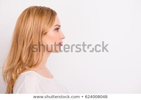 perfil · rubio · mujer · cara · naturaleza · modelo - foto stock © photography33