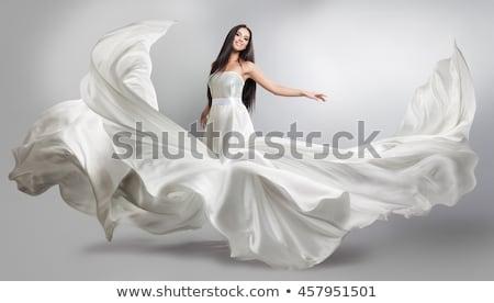 femme · robe · blanche · hiver · nature · train · bleu - photo stock © Aliftin