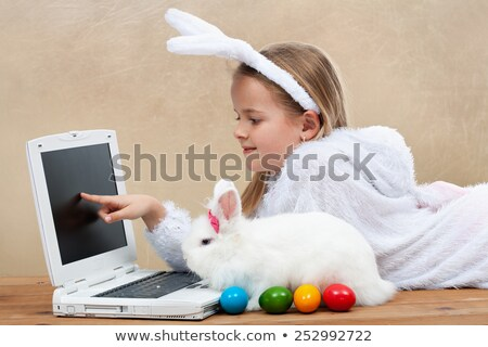 little girl with bunny pet in yellow field stock photo © goce