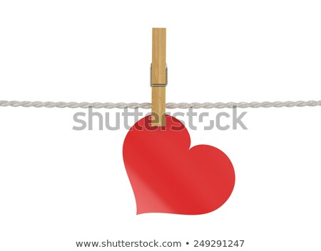 Сток-фото: Red Paper Heart Attached To A Clothesline With Pin