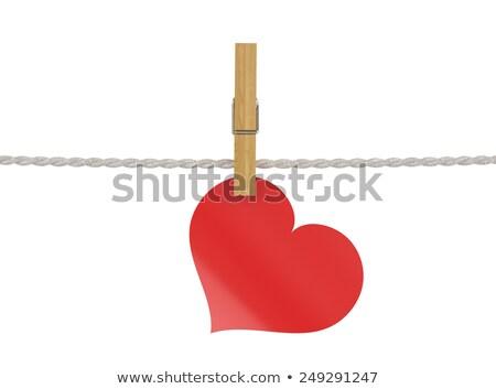 kalp · bağlı · pin · sevmek · valentine - stok fotoğraf © hermione