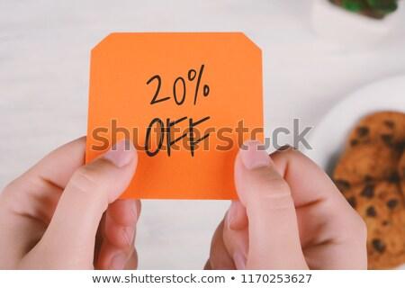 Vinte por cento palma mulher isolado branco Foto stock © vlad_star