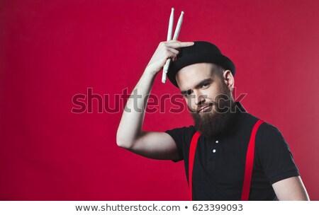 Portret trommelaar gelukkig mannen leuk jonge Stockfoto © photography33