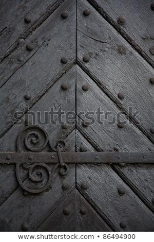 öreg · fából · készült · ajtó · gyönyörű · dekoráció · fa - stock fotó © calvste