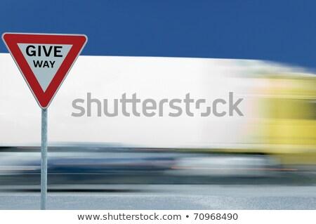 donner · façon · signe · pays · chemin · de · terre - photo stock © latent