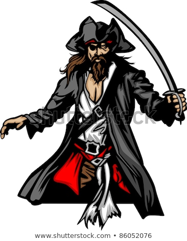 Pirate Mascot Standing with Sword and Hat Graphic Vector Illustration Stock photo © chromaco